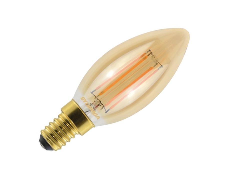 Ledlamp - RETRO - E14 - 400 lm - kaars - helder goud