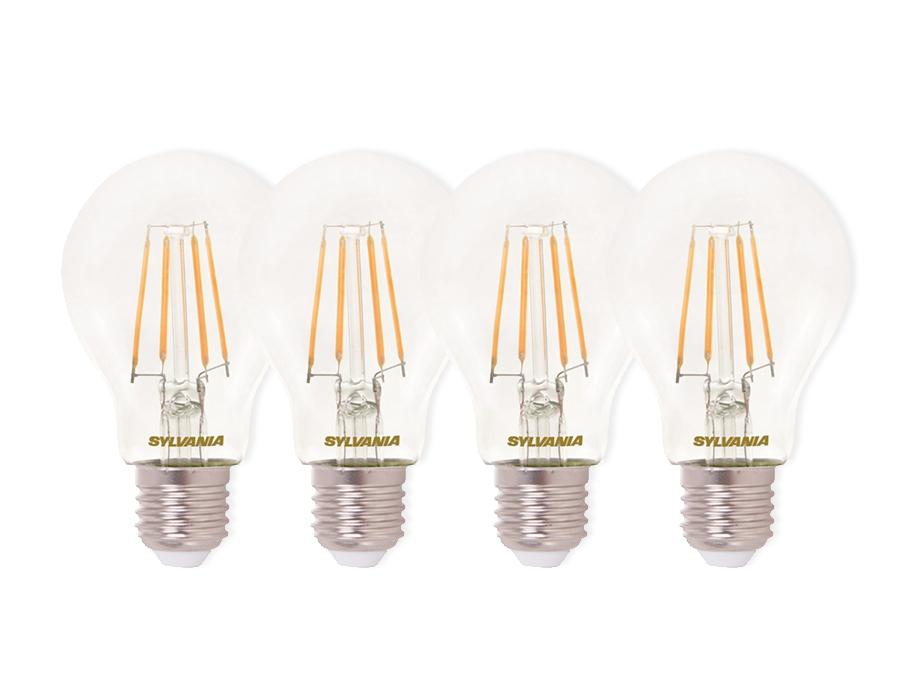 Ledlamp - E27 - 470 lm - bol - doorzichtig - 4 stuks